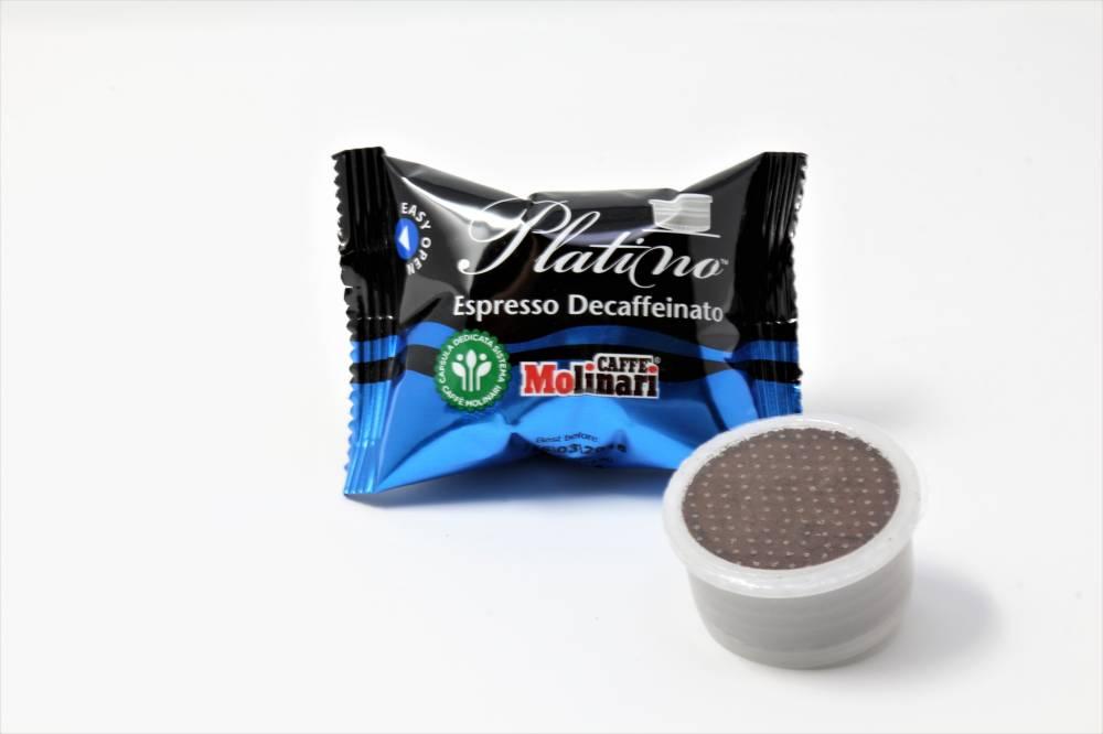 QUALITA´ PLATINO ESPRESSO DECAFFEINATO CAFFE´ MOLINARI CLONE LAVAZZA ESPRESSO POINT Confezione da 100 pezzi I migliori caffè decaffeinati utilizzando moderni metodi di decaffinazione