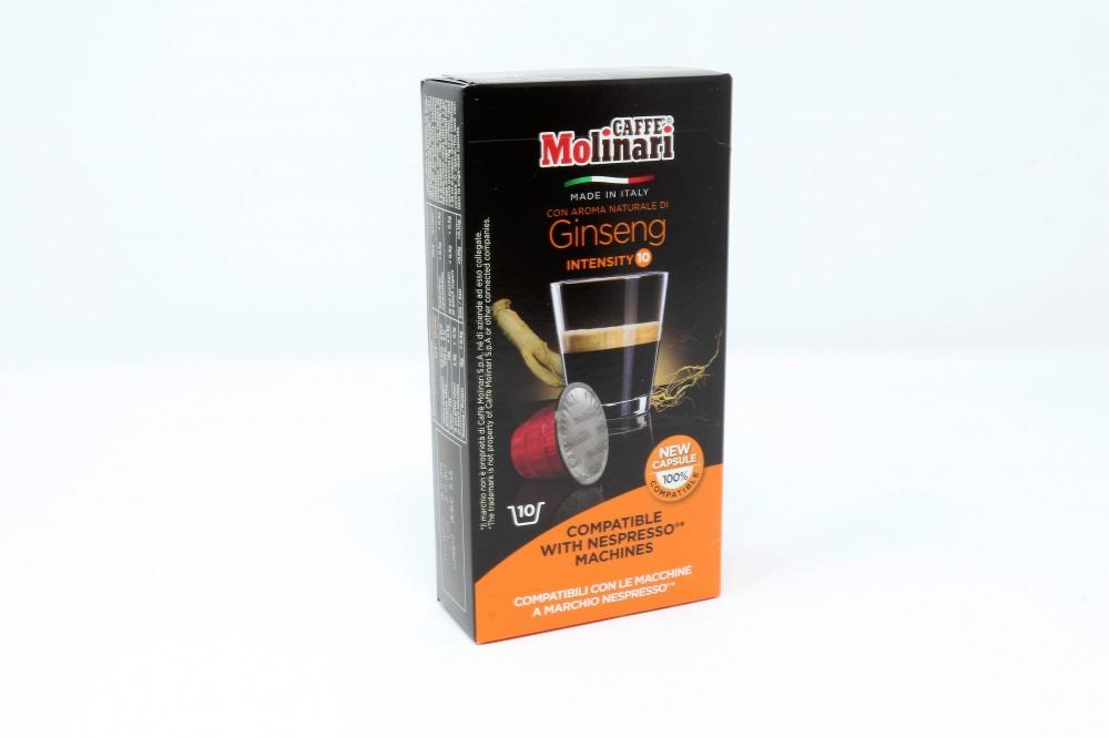 """GINSENG """"CAFFE´ MOLINARI"""" CLONE NESPRESSO Confezione da 100 pezzi Preparato per bevanda a base di miscela di caffè tostato con aroma naturale di ginseng ed aroma naturale di caramello"""