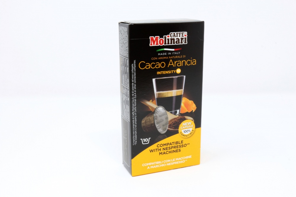 """CACAO ARANCIA """"CAFFE´ MOLINARI"""" CLONE NESPRESSO Confezione da 100 pezzi Preparato per bevanda a base di miscela di caffè tostato con aroma naturale di arancia ed aroma naturale di cioccolato in polvere confezionato io capsula monodose miscela di caffè tostato 97%, aroma naturale di arancia 2%, aroma naturale di cioccolato in polvere 1%"""
