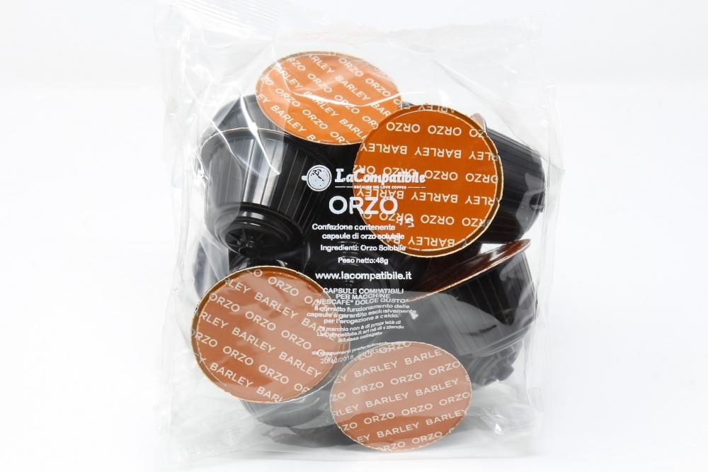 """QUALITA´ ORZO SOLUBILE """"LA COMPATIBILE"""" CLONE NESCAFE´ DOLCEGUSTO Confezione da 96 pezzi Una cremosità unica nel suo genere, ottenuta dalla migliore qualità del cereale essiccato e tostato"""