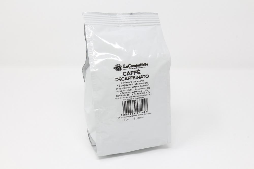 """QUALITA´ DECAFFEINATO """"LA COMPATIBILE"""" PER CAFFITALY Confezione da 100 pezzi Un decaffeinato corposo e intenso, creato appositamente per chi non vuole rinunciare al piacere di un ottimo caffè espresso italiano Robusta 70% Arabica 30%"""