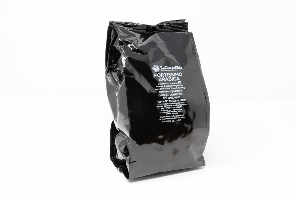 Qualità Fortissimo Arabica La Compatibile clone Nescafè DolceGusto Confezione da 160 pezzi Il vero ristretto italiano 80% arabica. Un caffè potente, deciso, cremoso ed un pieno retrogusto intenso