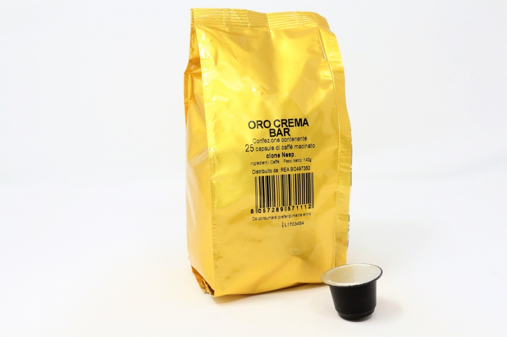 cialde caffè compatibile con macchine Nespresso torrefazione La Compatibile miscela Oro Crema Bar, tostatura forte e crema persistente