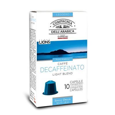 CONFEZIONE DA 10 CAPSULE DECAFFEINATO CAFFÈ CORSINI COMPATIBILI CON MACCHINE NESPRESSO® Gran Riserva - Premium Coffee Selection Caffè Decaffeinato, puro Arabica, caffeina non superiore allo 0,10 %