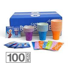 KIT DEGUSTAZIONE CAFFE´ Kit da 100 pezzi composto da bicchieri colorati, palette e ottimo zucchero per gustare nel migliore dei modi il vostro caffè preferito!
